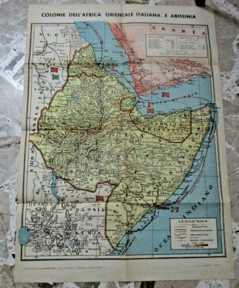 Cartina Geografica Italia Africa.Carta Geografica Colonie Dell Africa Orientale Italiana Originale 1936 40 Carte Geografiche Geografia Africa