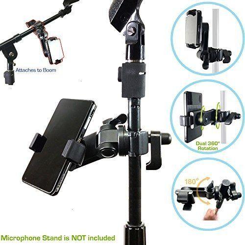 Music Boom Mic Microphone Stand Smartphone Mount w/360° Swivel Adjust Hol... AccessoryBasics Musi
