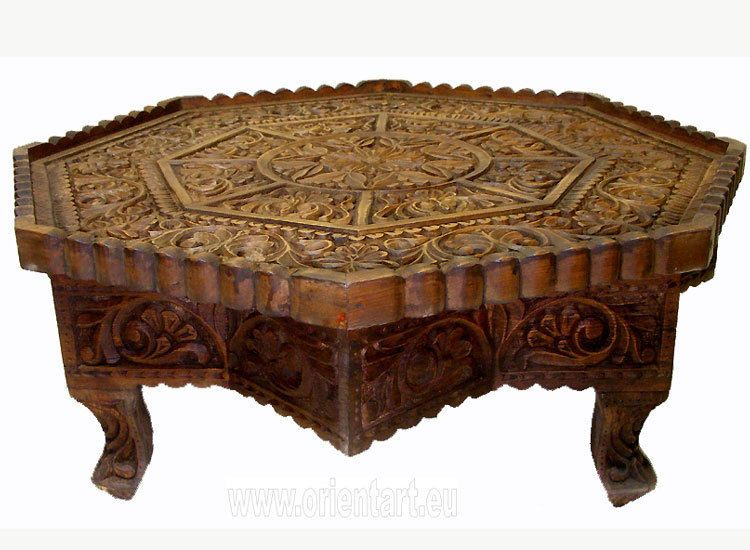 70 Cm Antik Look Massiv Holz Orient Teetisch Tisch Coffee Table Usbekistan