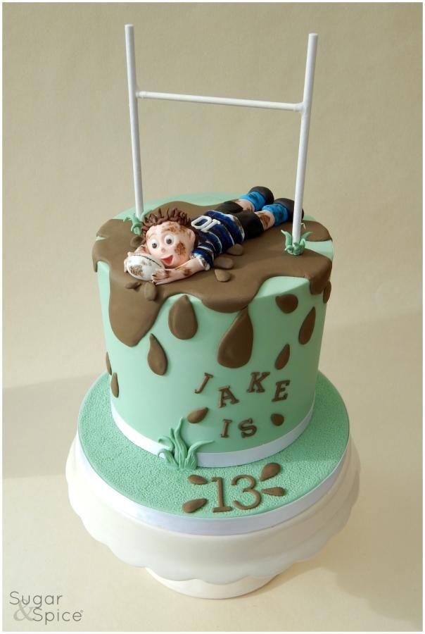 Jake S Rugby Cake Rugby Cake Cool Birthday Cakes Cupcake Cakes