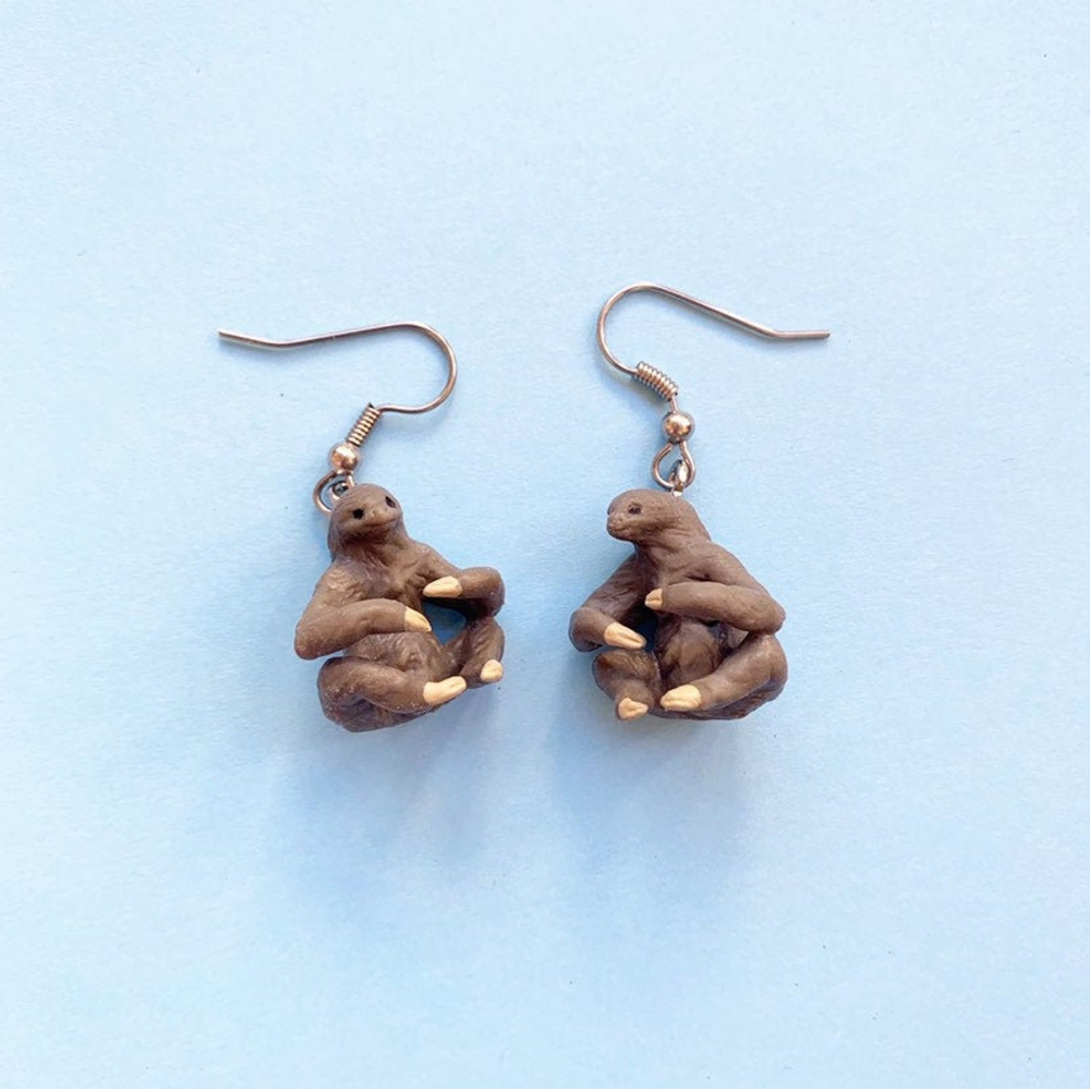 Sloth Earrings sloth Funky earrings novelty earrings cute gifts quirky Novelty gift Sloth gift cute earrings Handmade polymer clay