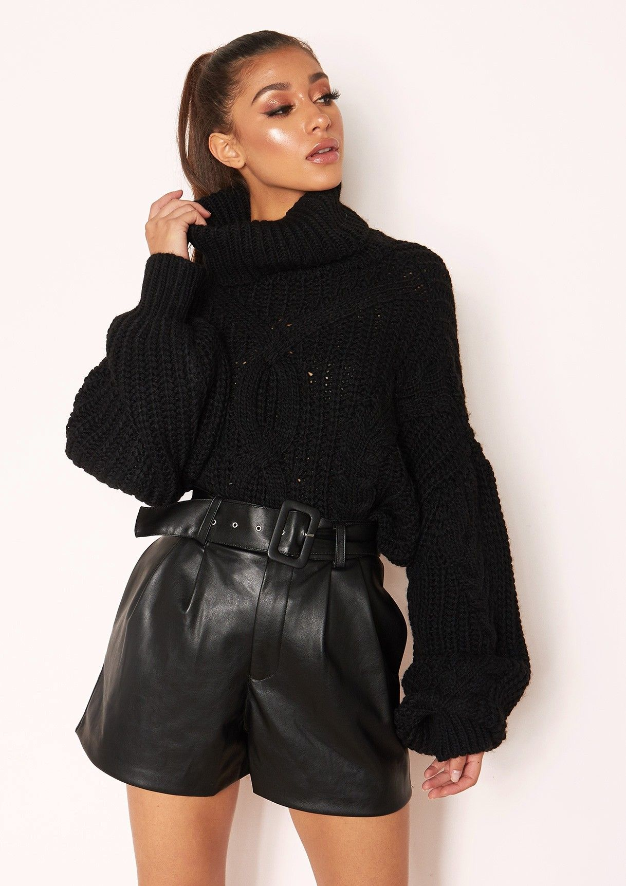 d5f6decefb Missyempire - Emily Black Faux Leather Belted Shorts. Missyempire - Hana  Black Cable Knit Roll Neck Jumper ...