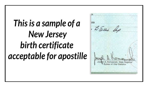 This Is A Sample Of A New Jersey Birth Certificate Acceptable For