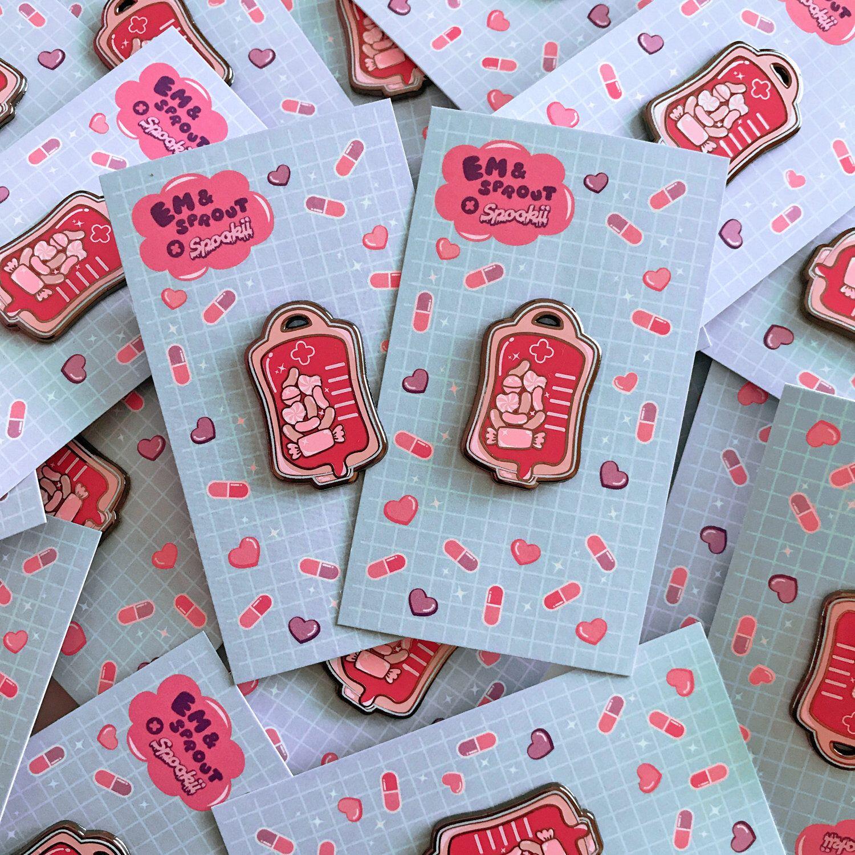 Kawaii Candy Blood Bag Enamel Pin | Patches | Lapel pins