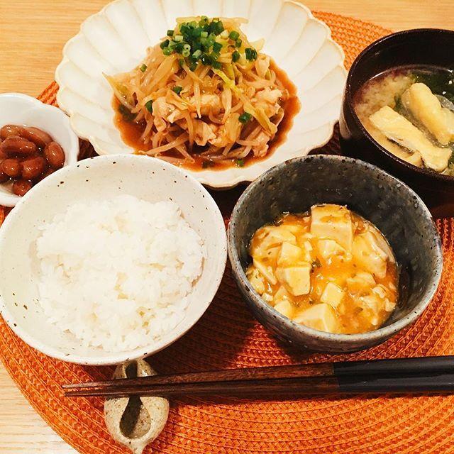 #昨日#晩御飯#ごはん#麻婆豆腐#豚#肉#野菜炒め#味噌汁#豆