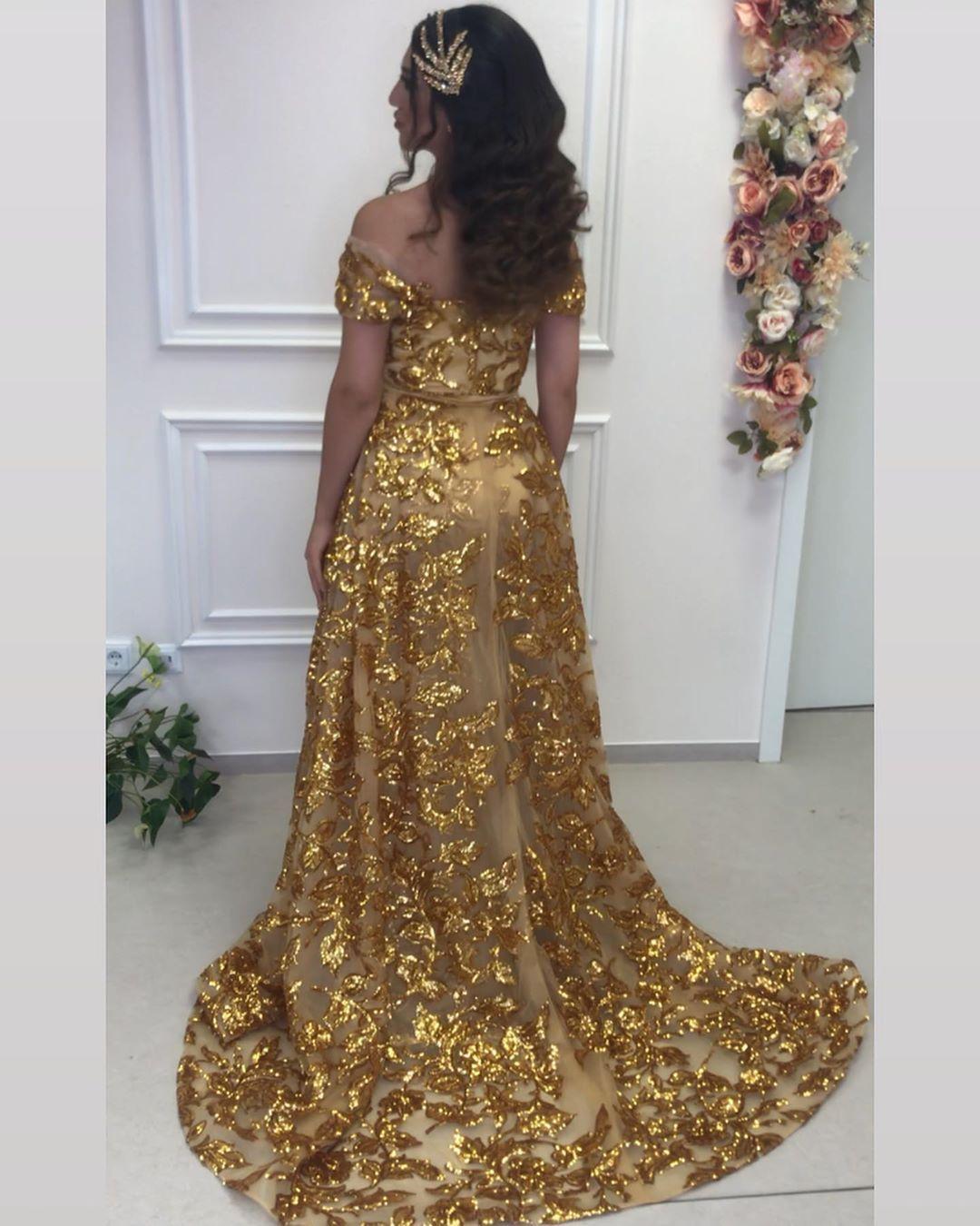 gold abendkleider luxus   abiballkleider lang glitzer