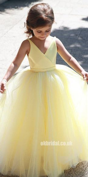 A-Line Tulle Yellow Flower Girl Dresses, Popular Satin Little Girl Dresses, FC1802 #flowerdresses