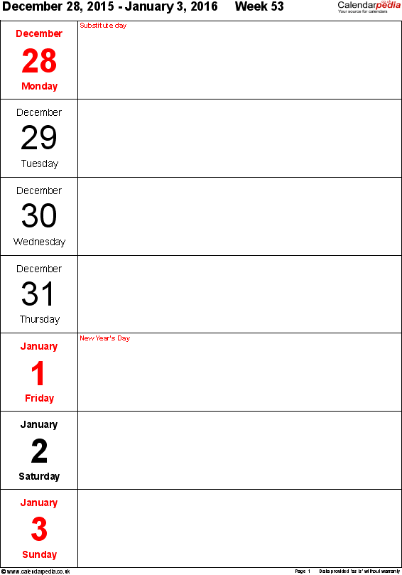 Pdf Template 10 Weekly Calendar 2016 Portrait Orientation