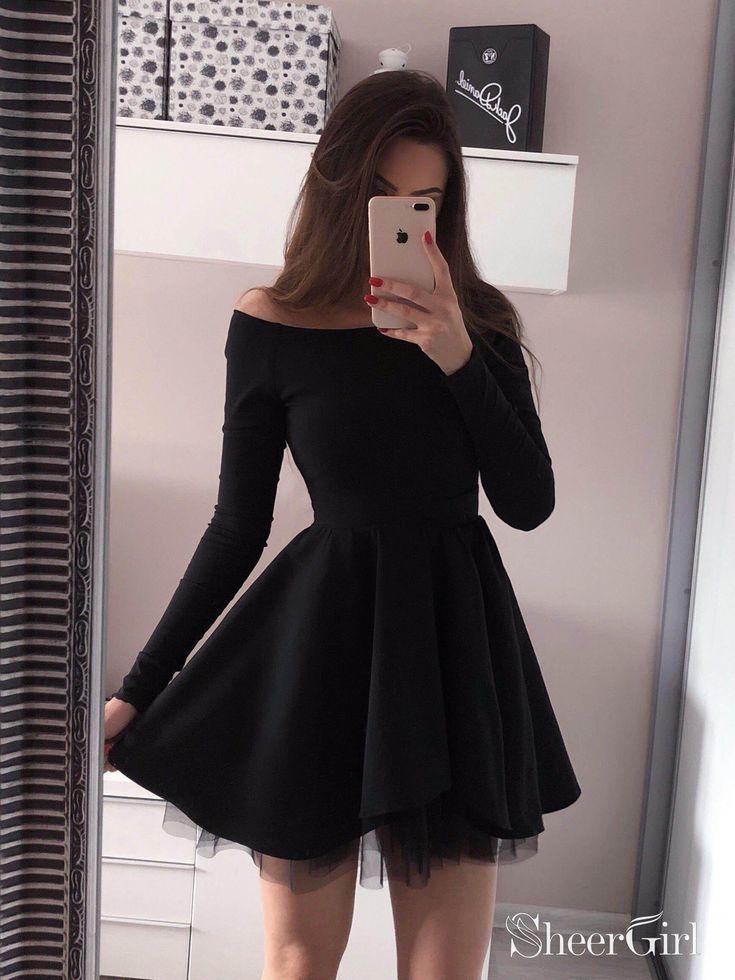Long Sleeve Black Homecoming Dresses Mini Short Red Prom Dress Ard1733 Vestidos De Fiesta Negros Moda De Ropa Ropa Hermosa