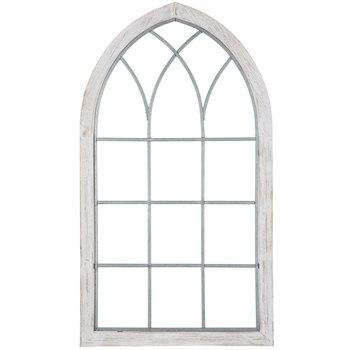 White Cathedral Window Wood Wall Decor Wood Wall Decor Mirror
