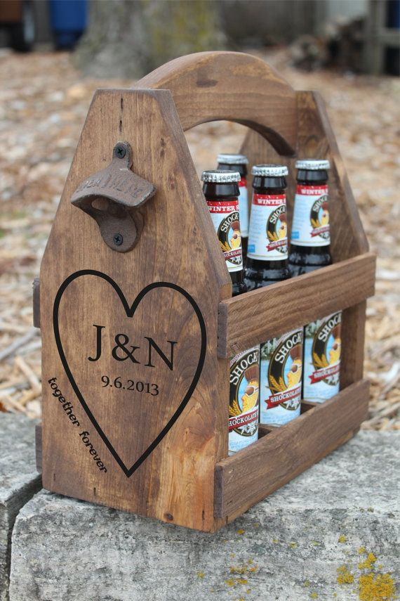 Wooden Beer Carrier Rustic Wood Beer Tote By Absoluteimpressions