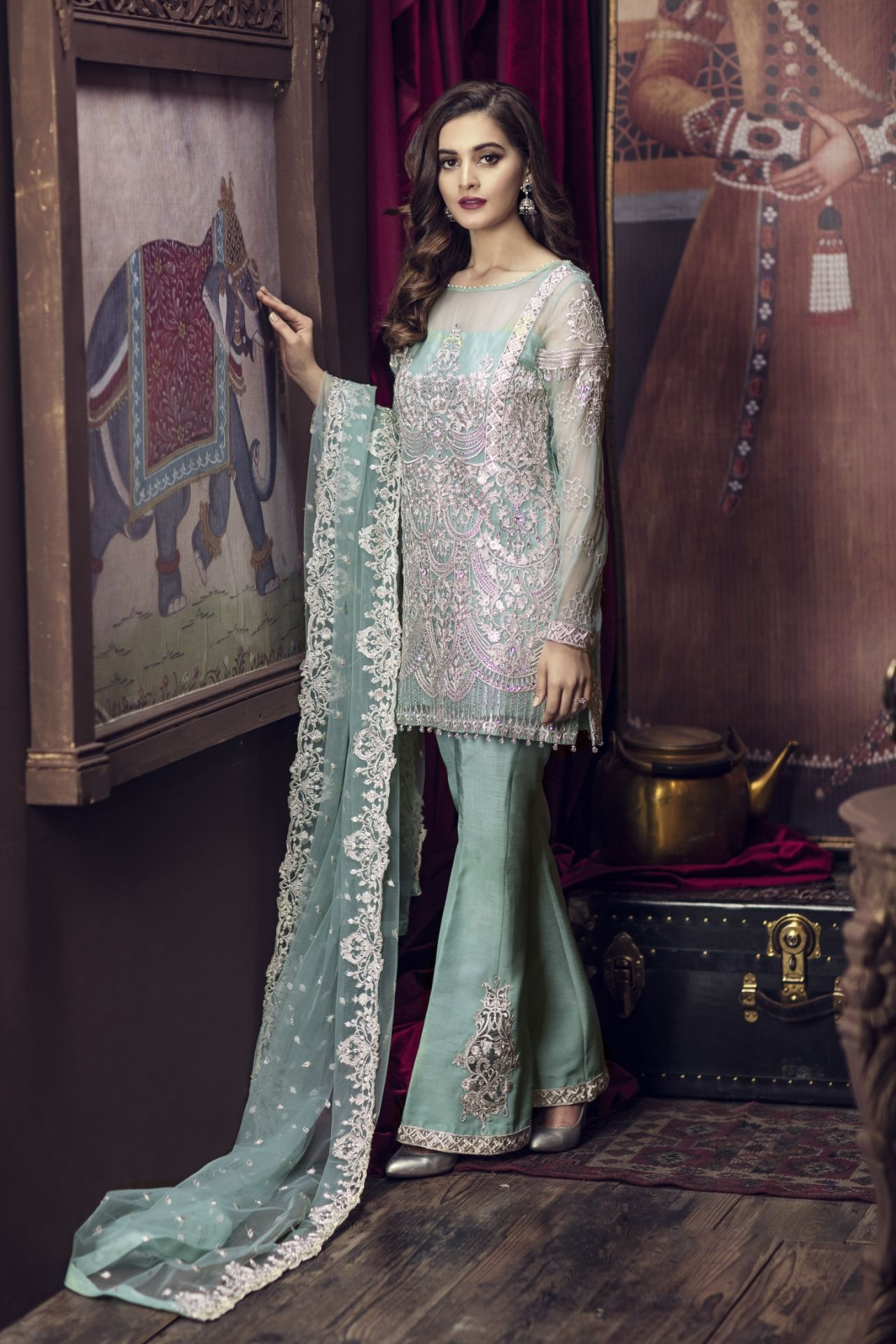 70598b245f Imrozia Premium Embroidered Chiffon Collection 2018 | PK Vogue #partywear  #party #partyideas #partydress #chiffon #pakistanidresses