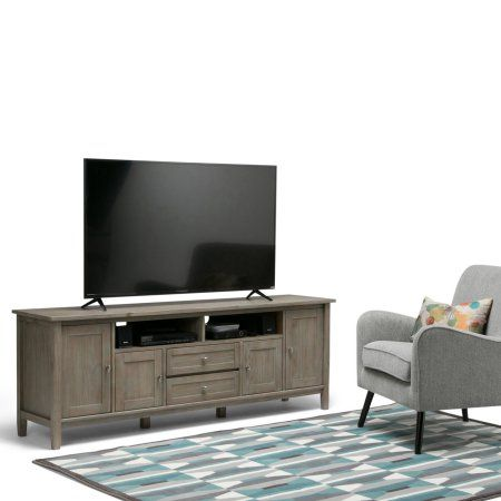 Simpli Home Warm Shaker 72 Inch TV Media Stand, Gray