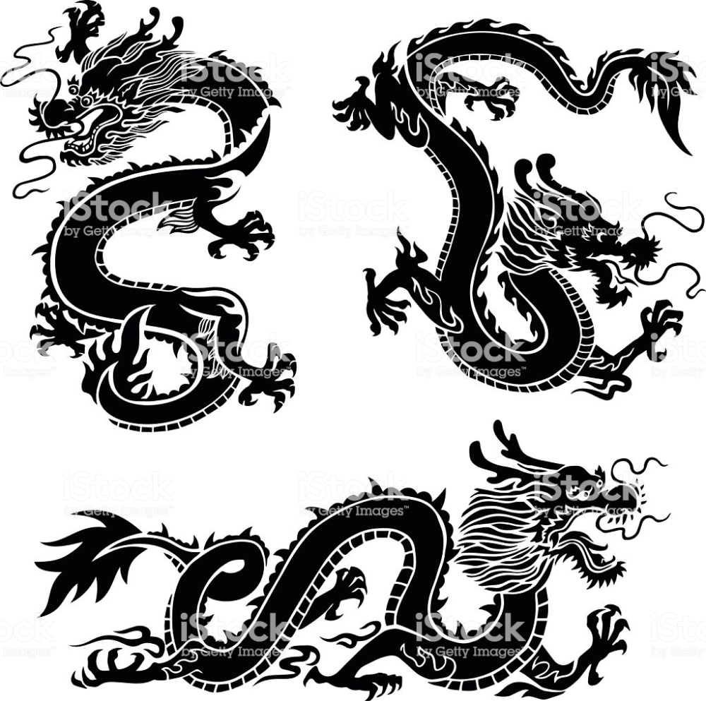 Set Of 3 Chinese Dragons Asian Dragons Oriental Dragons Japanese Asian Dragon Tattoo Asian Dragon Chinese Dragon
