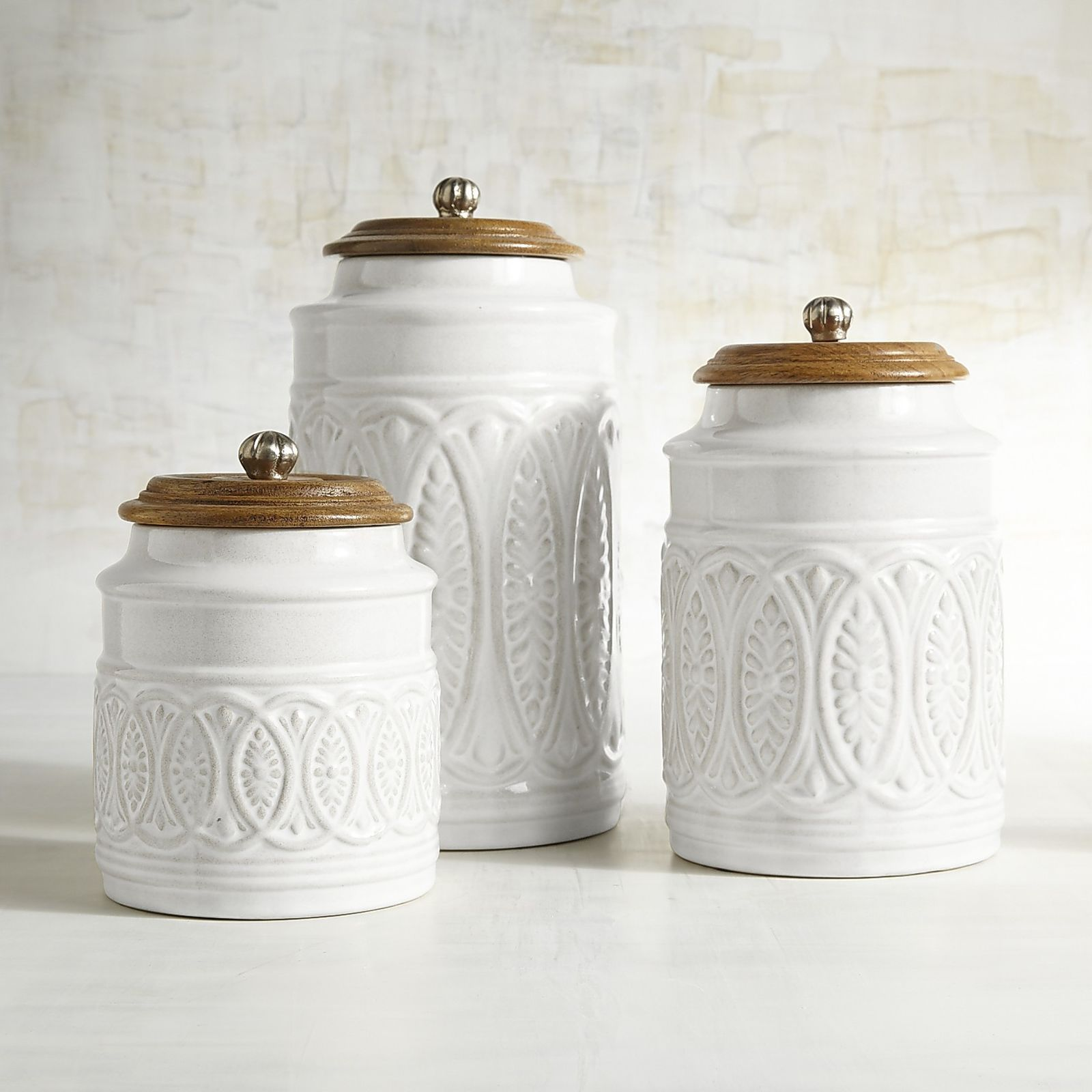 Ivory Farmhouse Canisters | Farmhouse style, Countertop and Compliments