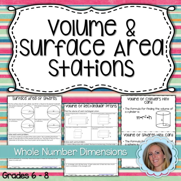 grade 8 volume and surface area activities