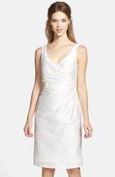 Alfred Sung Satin Side Pleat Satin Sheath Dress
