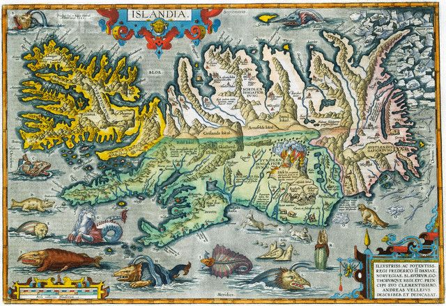 """Islandia"" 16th-Century Map of Iceland"