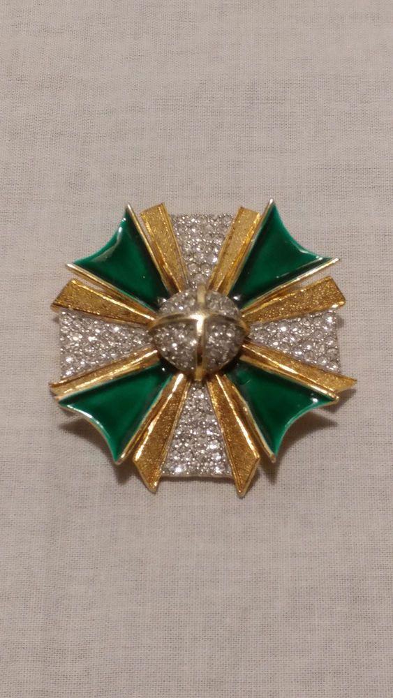 Kenneth Jay Lane KJL Vintage '60s Green Enamel & Rhinestone Maltese Cross Pin #KennethJayLane