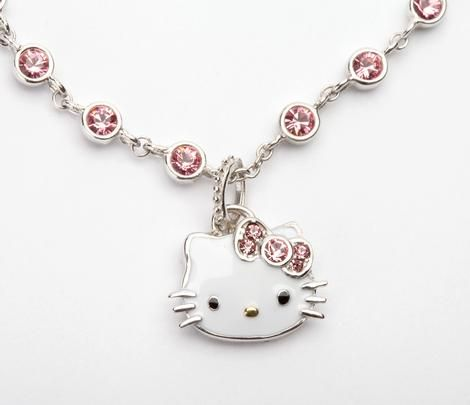"""hello kitty pink bow Jewel Detailed necklace 1/"""" charm Pendant"""