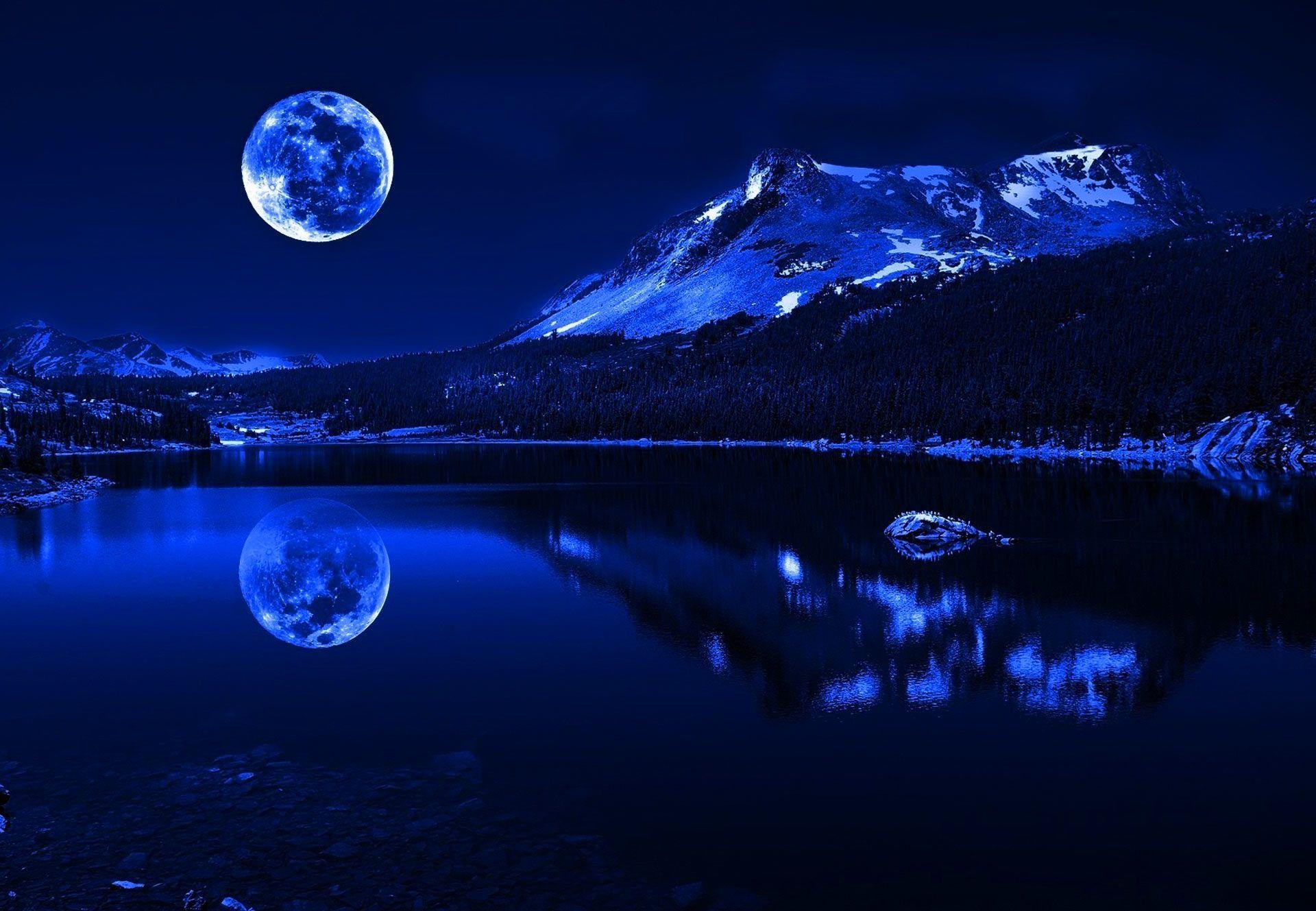 Fondo Pantalla Paisaje Luna Llena Sobre Lago
