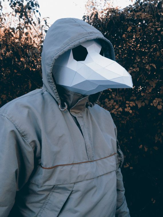 Printable Paper Model Of Plague Doctor Mask Folding Diy Template