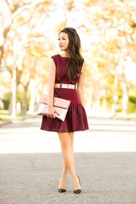 Maroon Dress with Gold Belt and Purse