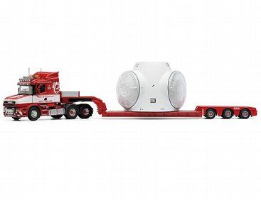 The Corgi Scania T Nooteboom Low Loader Trailer with Wind Turbine Load, West of Scotland, Lanarkshire is a diecast model truck in 1/50 scale from the Corgi Hauliers Of Renown range.