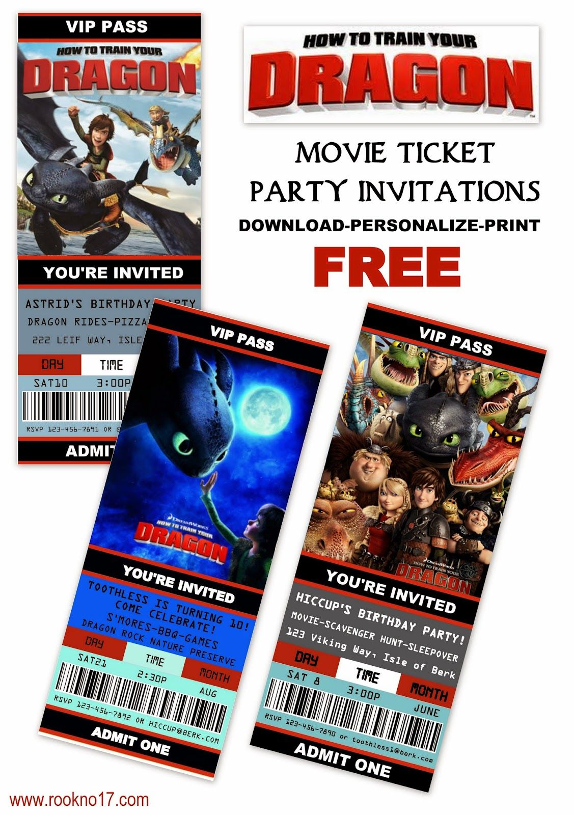 Free Printable Movie Ticket Style Invitations How to Train Your – Free Printable Ticket Style Invitations
