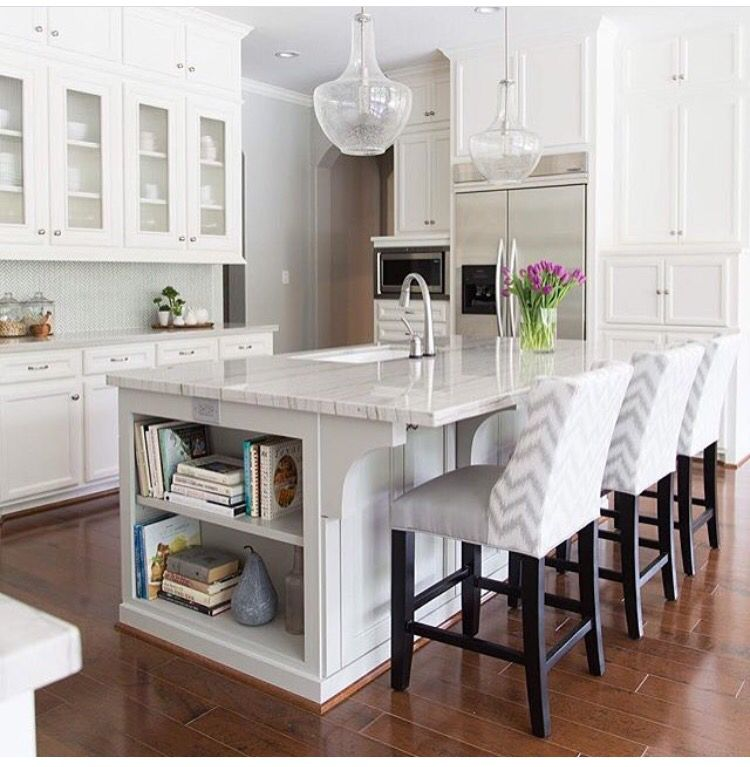 Love the built in bookcase in the island kitchen ideas - Large kitchen islands with seating and storage ...