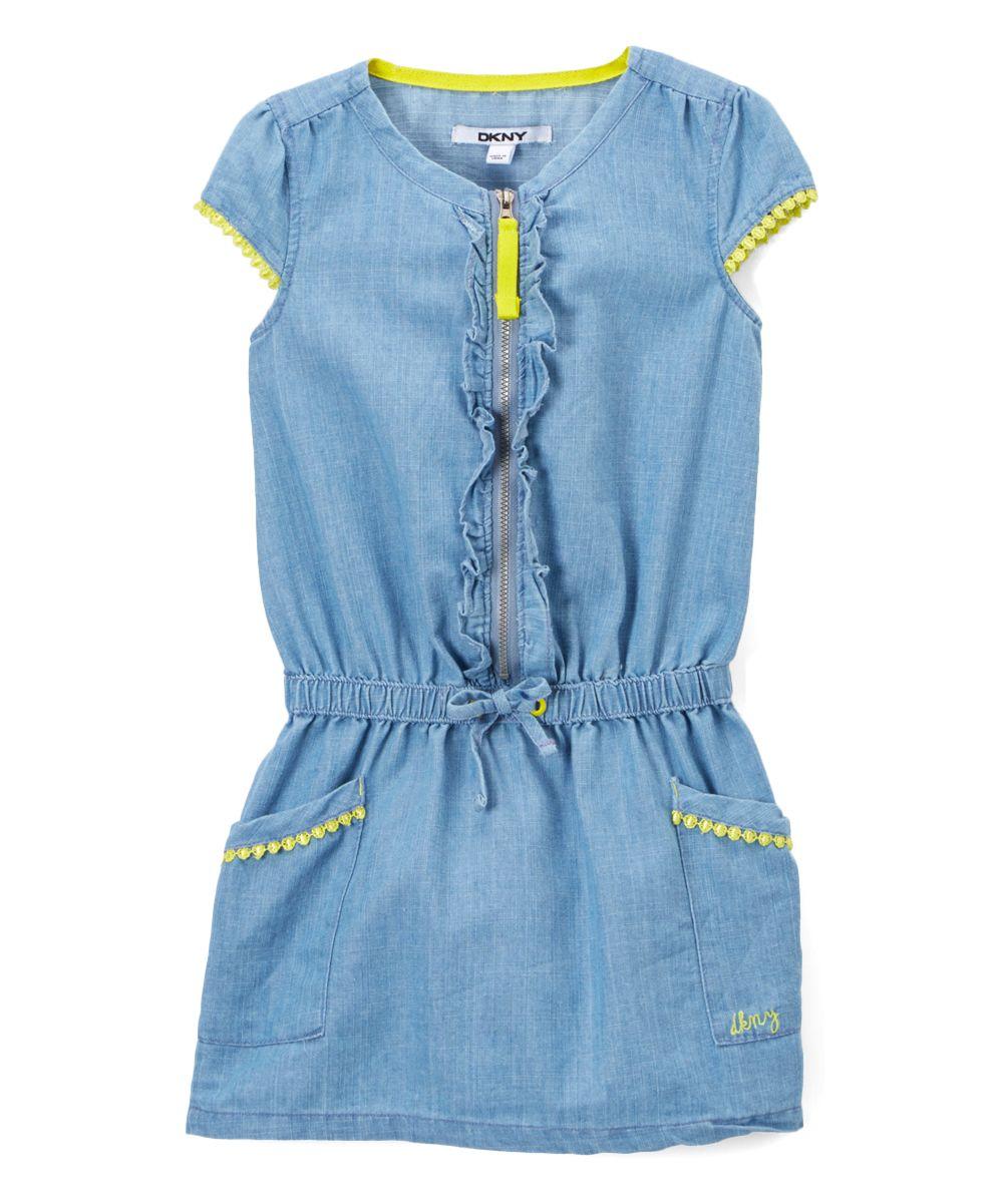 48b48140e69 Light Wash Zip-Front Drop-Waist Denim Dress - Infant Toddler   Girls ...