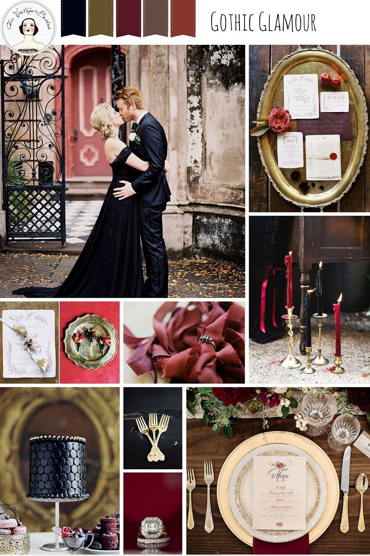 Elegant Halloween Wedding Inspiration In Black Red Gold Halloween Wedding Elegant Halloween Gothic Wedding Theme