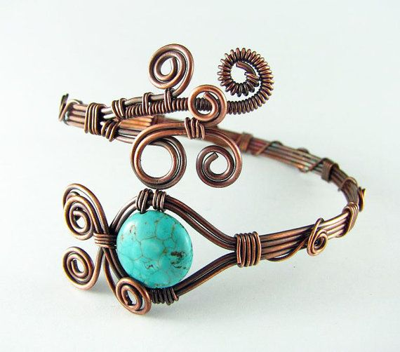 Copper Bracelet Wire Wrapped Bracelet Turquoise Copper Bracelet Wire ...