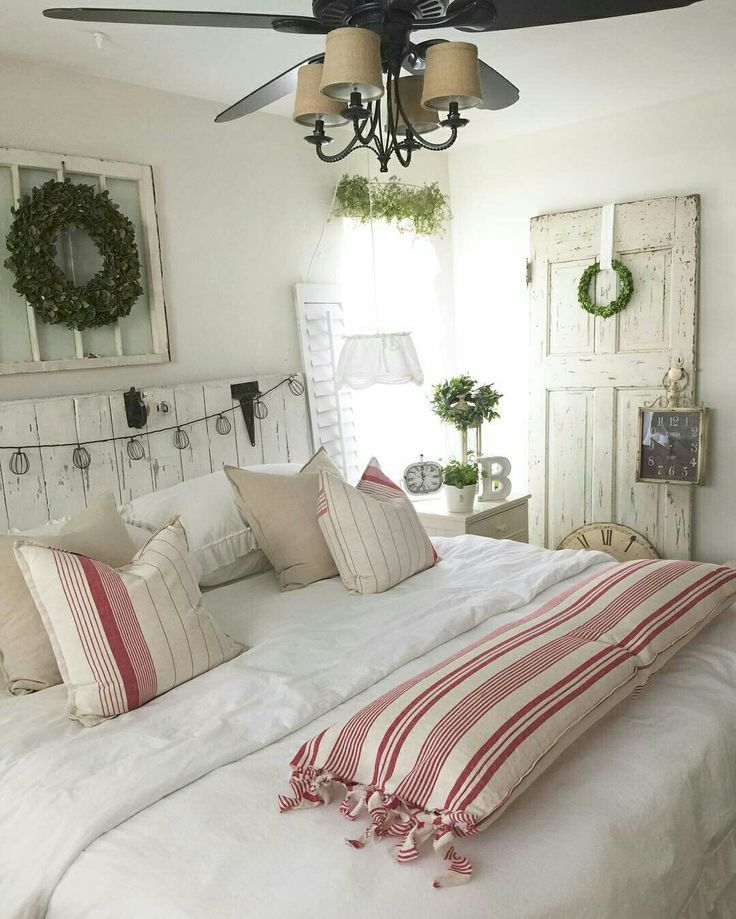 Farmhouse chic bedroom with a touch of red bedroom for Red cream bedroom designs