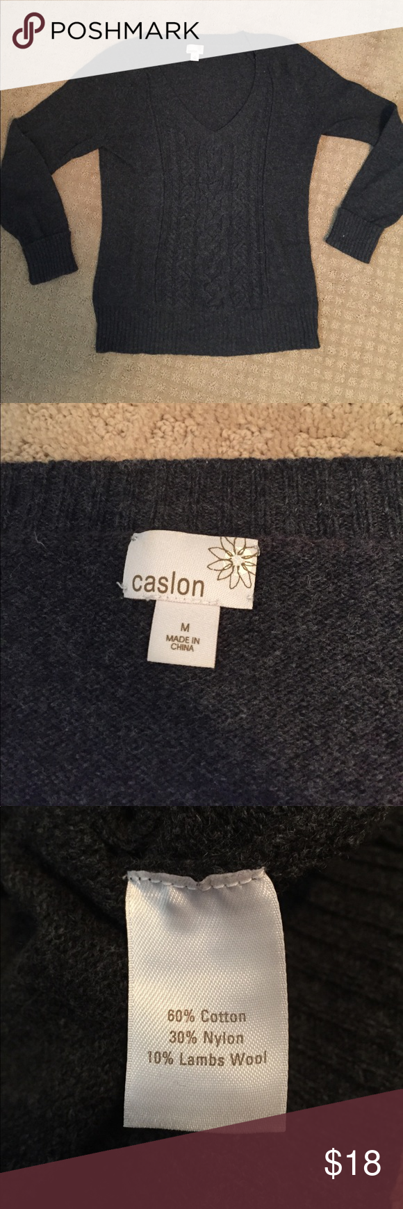 Caslon Gray Knit Sweater Caslon Gray Knit Sweater. Excellent condition! Soft and comfortable and stylish! 60% cotton, 30% nylon, 10% lambs wool. Caslon Sweaters V-Necks