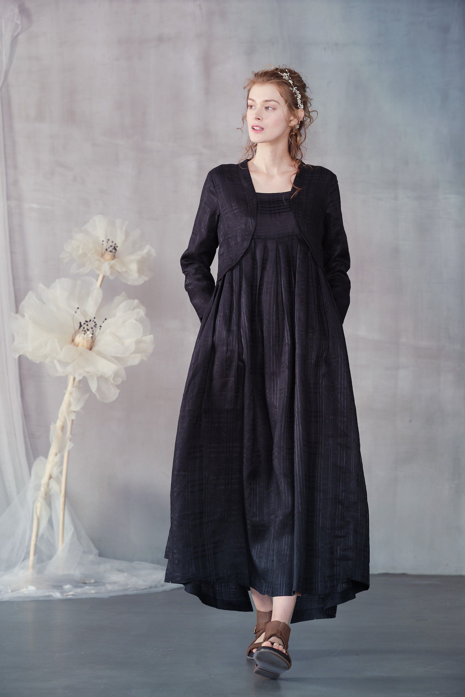 Linen Dress Black Linen Dress Tiered Dress With Jacket Long Sleeve Dress Plus Size Dress Maxi Dress Black Dress Linennaive Black Linen Dress Tiered Dress Linen Dress [ 3000 x 2000 Pixel ]