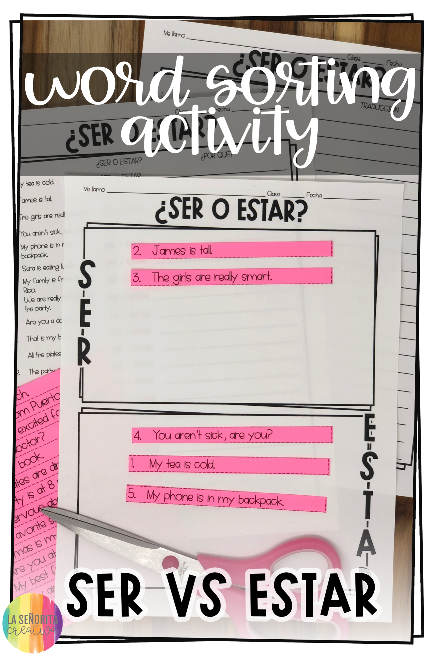 Ser Vs Estar Spanish Sorting Activity And Worksheets