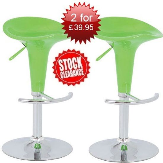 Buy 2 Pazifik Lime Green Gas Lift Bar Stools For £39.95
