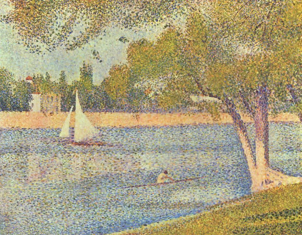 Landschaftsmalerei impressionismus  Georges Seurat. Die Seine an der Grand Jatte, Frühling. 1888, Öl ...