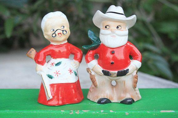 Sold to lisa vintage christmas cowboy santa mrs. claus w gun salt