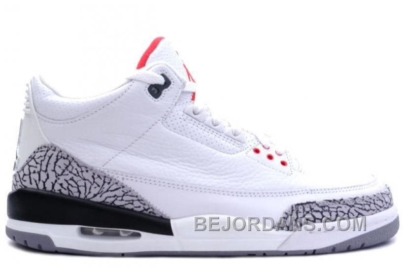 454c1cc5d5672d Air Jordan 3 (III) 2003 Retro White   Cement Grey - Fire Red Other than the  Jumpman logo on the heel