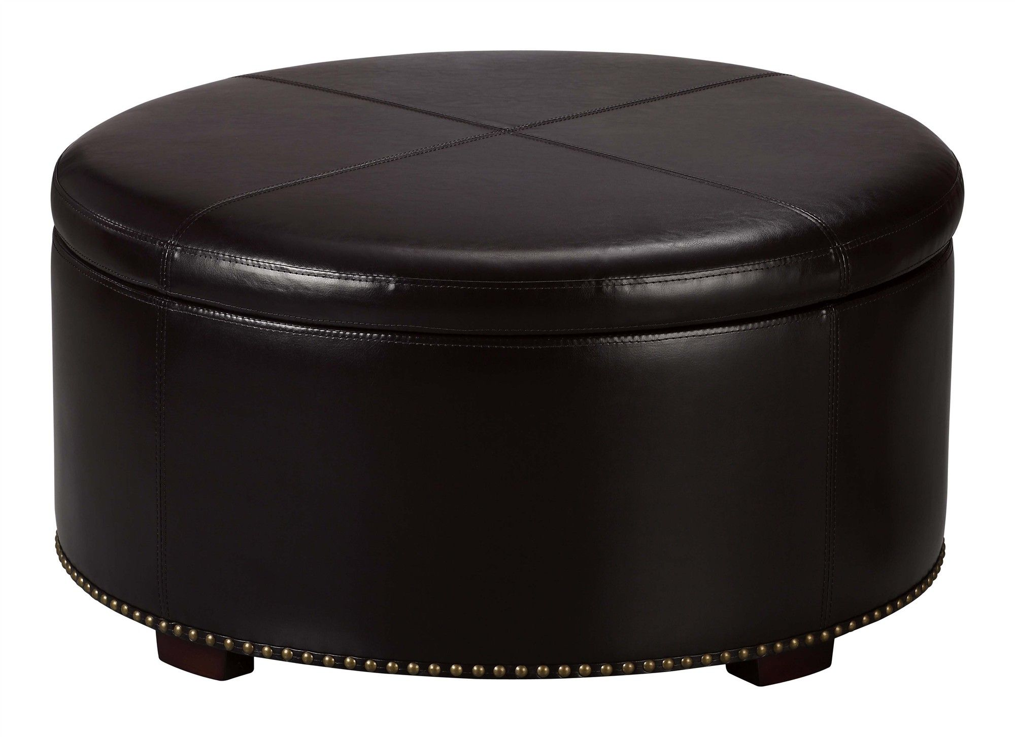 Dark Brown Leather Coffee Table Collection Black Color Modern Round Leather Ottoman Coffee Ta [ 1454 x 2000 Pixel ]