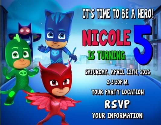 PJ Masks Birthday Party Invitations Personalized Custom In Home Garden Greeting Cards Supply