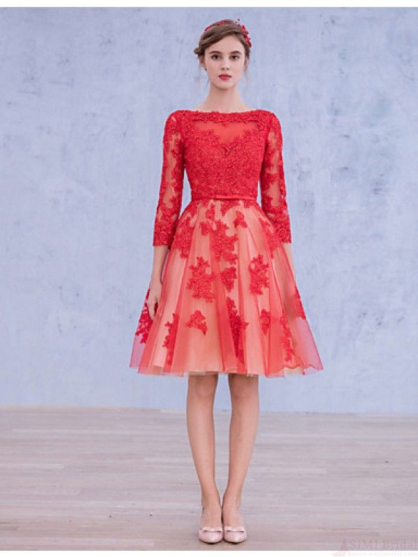 Long Sleeves Lace Wedding Dress Bridal Gown Red