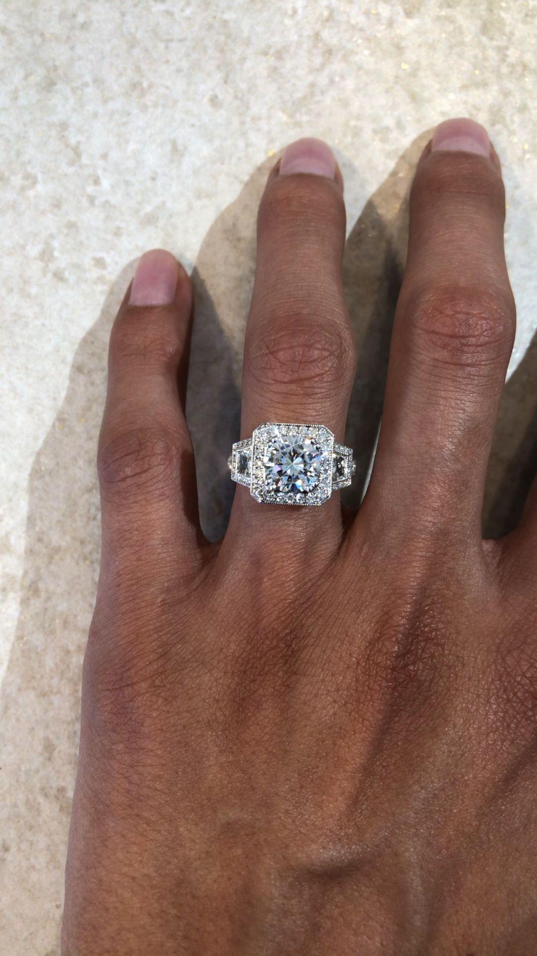 2 Carat Round Moissanite & Diamond Trapezoid Vintage Halo Engagement Ring