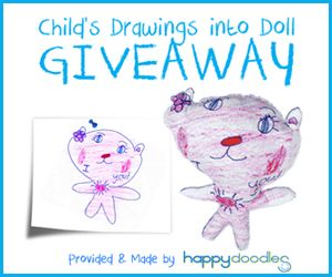 Giveaway for stuffed toy from kids' artwork!