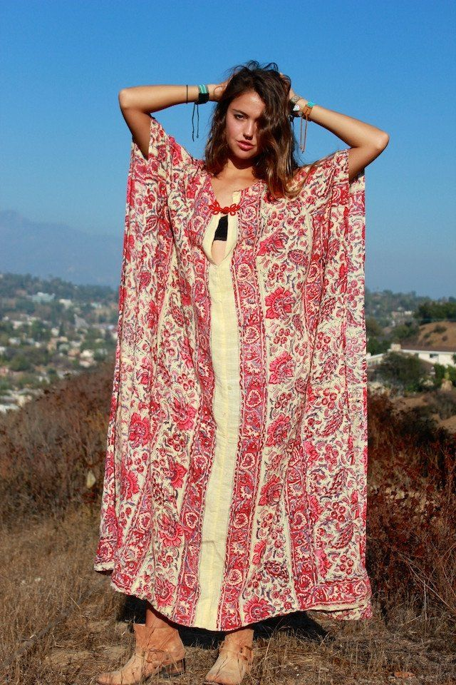 d90a8eb3f2 1970s Indian Block Print Maxi | Gypsy | Indian block print, Cotton ...