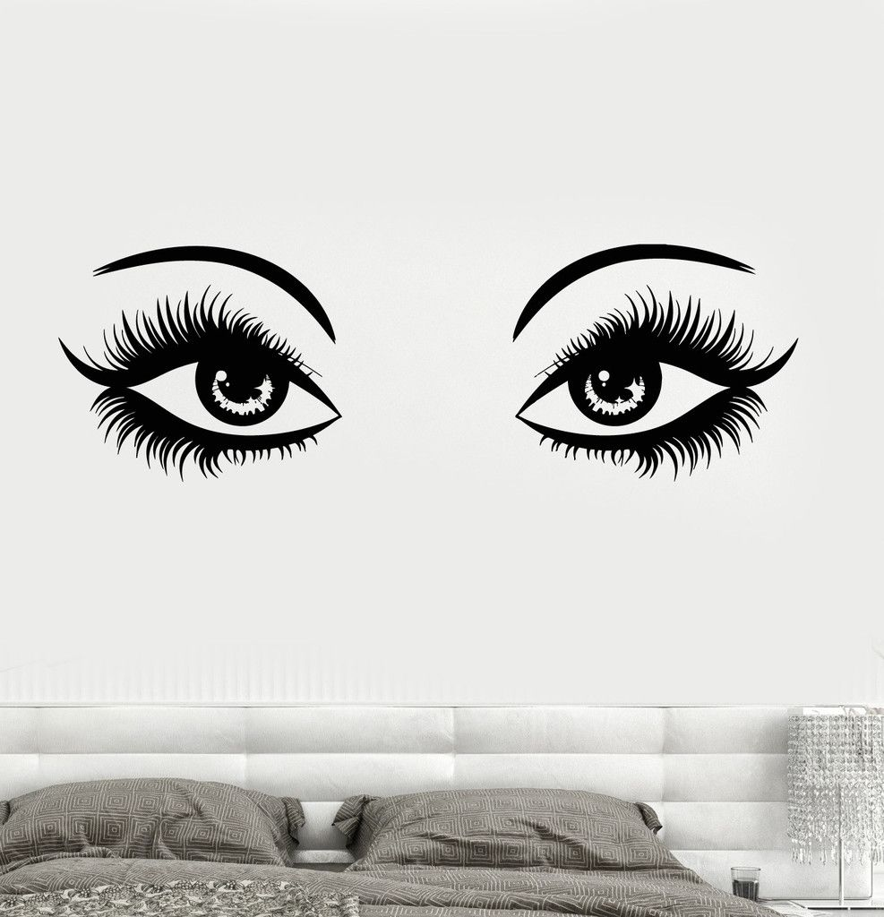 Wall Decal Eyes Make Up Sexy Girl Woman Spa Beauty Salon Girls - How to make vinyl decals for walls