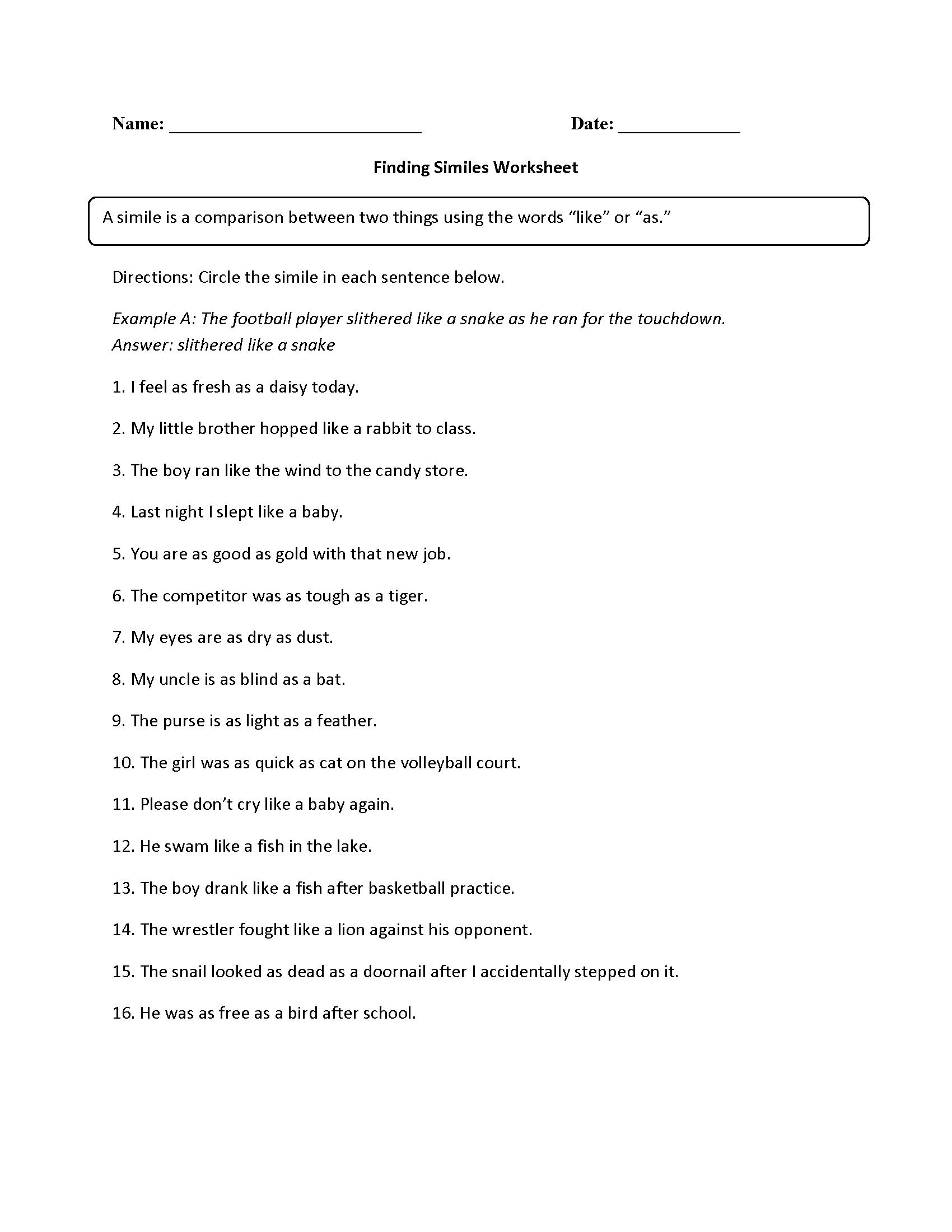 Finding Similes Worksheet