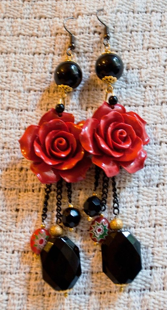 Red Roses #SHPcreations, #earring, #aretes, #pendientes